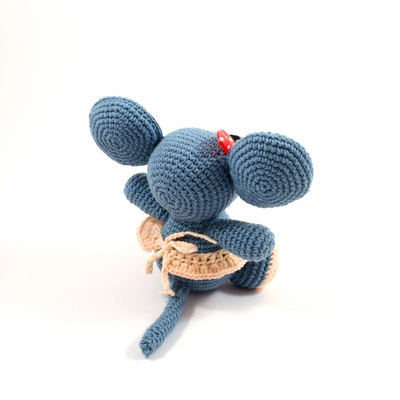 crochet baby girl mouse back view