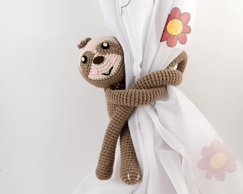 crochet sloth curtain tie back