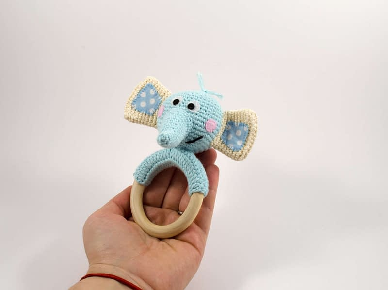 cute baby elephant teething ring