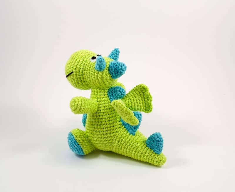 crochet green dragon back view