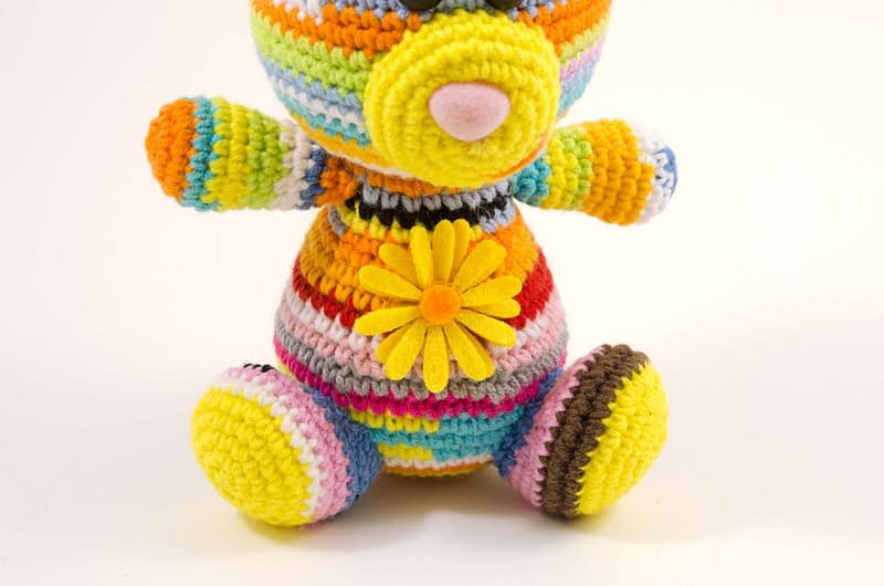 crochet rainbow bear close up view
