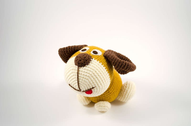 amigurumi brown dog front view