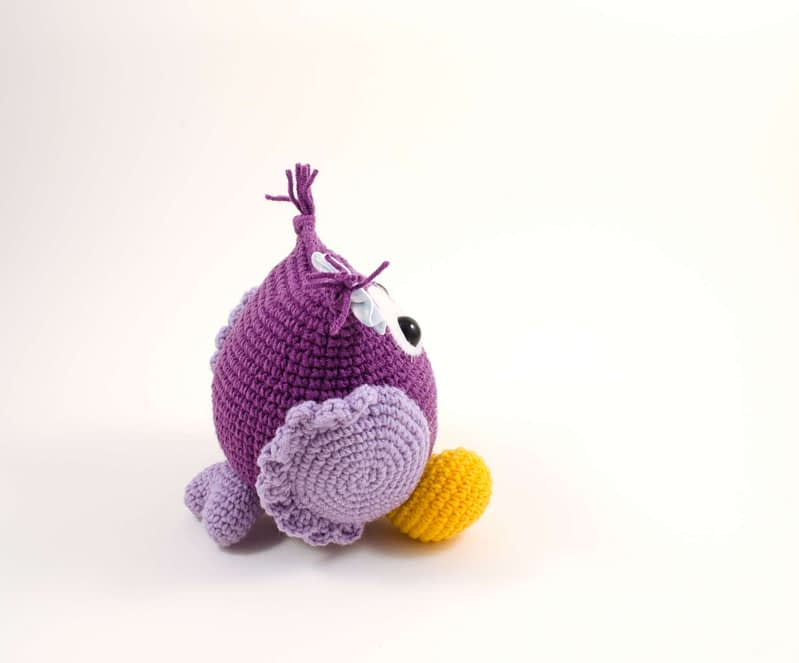 amigurumi purple owl side view