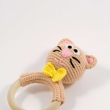 cute crochet cat teething ring