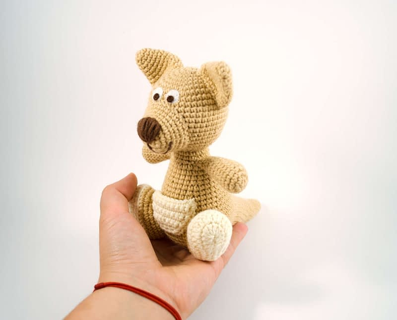 crochet brown kangaroo front view