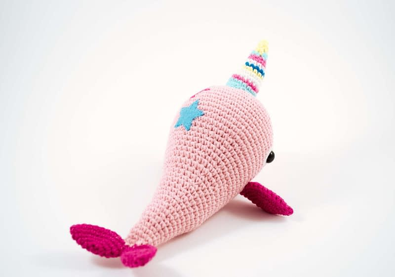 crochet pink narwhal back view