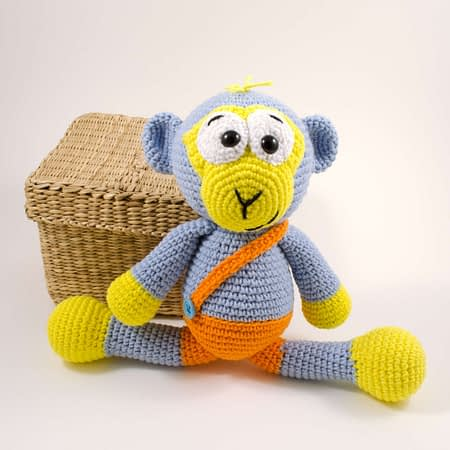 crochet blue monkey toy front view