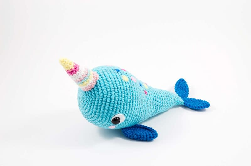 crochet blue narwhal side view