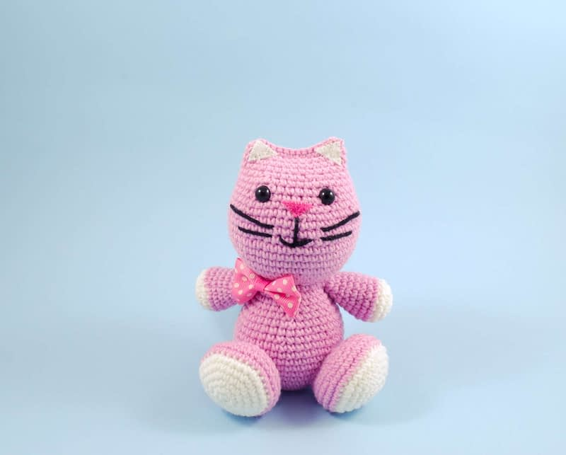 handmade pink cat front view