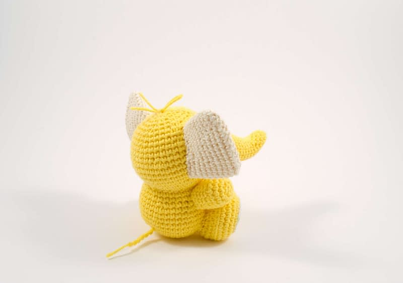 crochet baby elephant toy back view