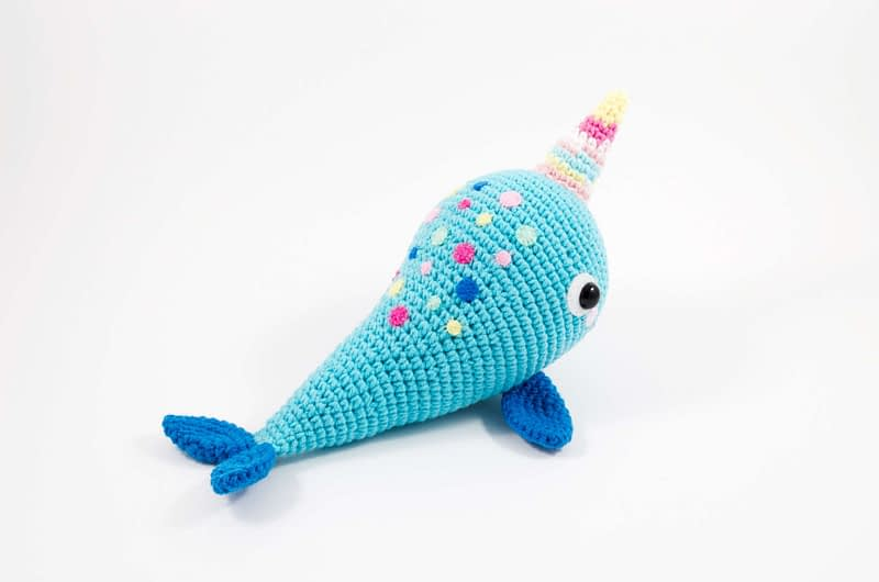 crochet blue narwhal back view