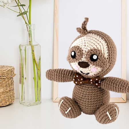 crochet sloth toy front view